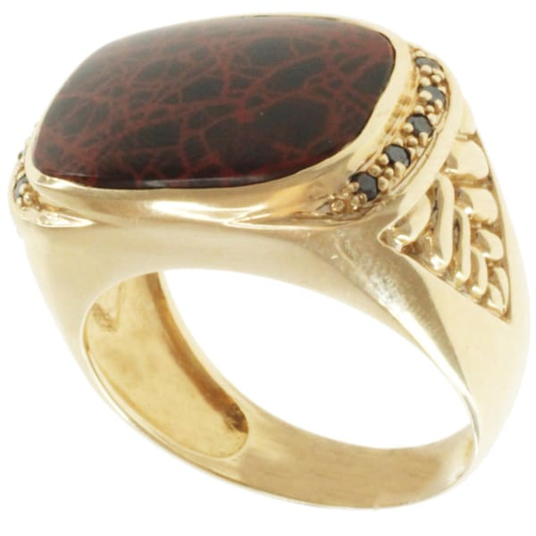 Michael Valitutti Men's 14k Yellow Gold One of a Kind Spider Web and Black Diamond Ring