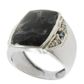 Michael Valitutti Men's 14k White Gold One of a Kind Pietersite, Blue Sapphire and Diamond Ring