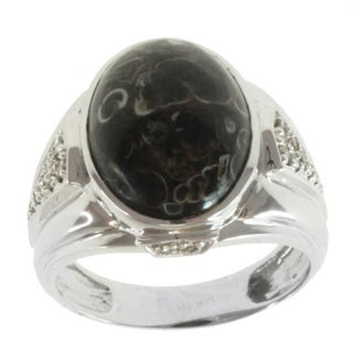 Michael Valitutti Men's 14k White Gold One of a Kind Fossilized Shell and Diamond Ring