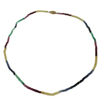 Michael Valitutti 14k Yellow Gold Sapphire, Ruby and Emerald Necklace