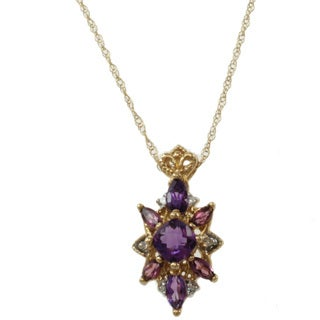 Michael Valitutti 10k Yellow Gold Amethyst, Rhodolite and Diamond Necklace