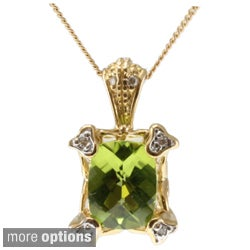 Michael Valitutti 14k Rose or Yellow Gold Morganite or Peridot and Diamond Necklace