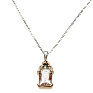 Michael Valitutti 14k Two-tone Gold Morganite Green Sapphire and Diamond Necklace