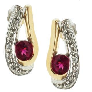 Michael Valitutti 14k Two-tone Gold Rubelite and Diamond Earrings