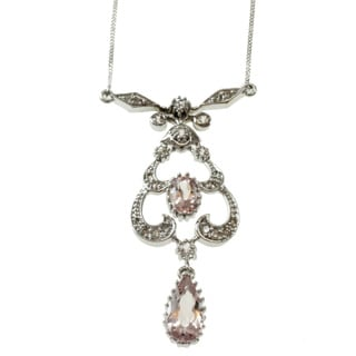 Michael Valitutti 14k White Gold Morganite, White Sapphire and Diamond Necklace