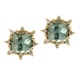 Michael Valitutti 14k Yellow Gold Seafoam Tourmaline and Diamond Earrings