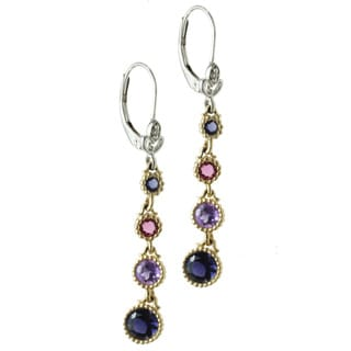 Michael Valitutti 14k Two-tone Gold Iolite, Amethyst, Pink Tourmaline and Diamond Earrings