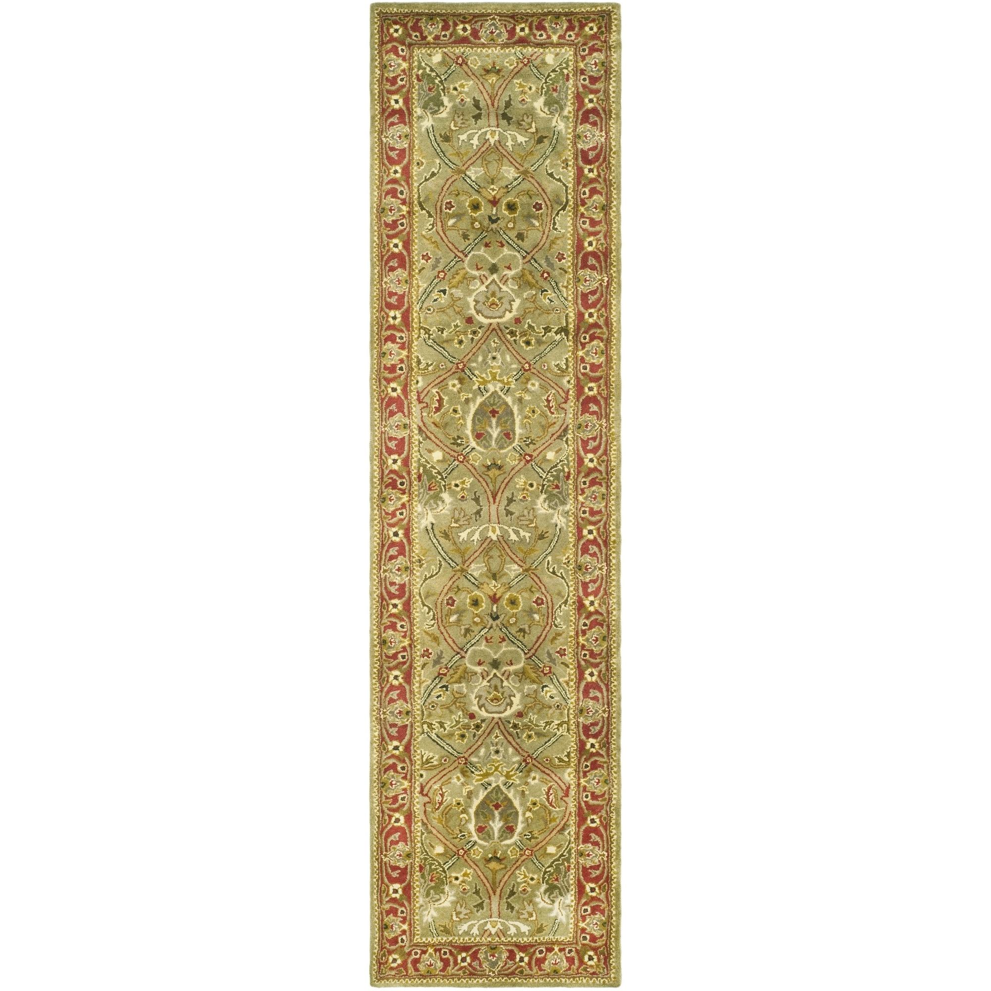 Safavieh Handmade Persian Legend Light Green/ Rust Wool Rug (2'6 x 18')