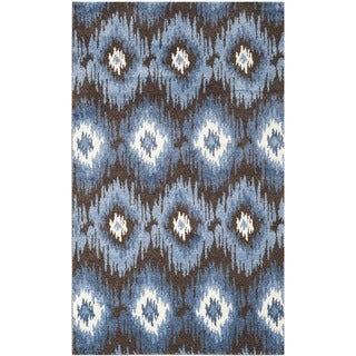Safavieh Retro Dark Brown/ Blue Rug (4' x 6')