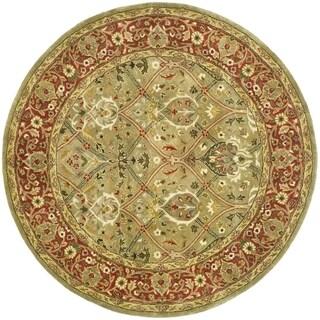 Safavieh Handmade Persian Legend Light Green/ Rust Wool Rug (10' Round)