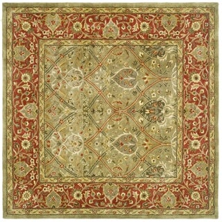 Safavieh Handmade Persian Legend Light Green/ Rust Wool Rug (10' Square)
