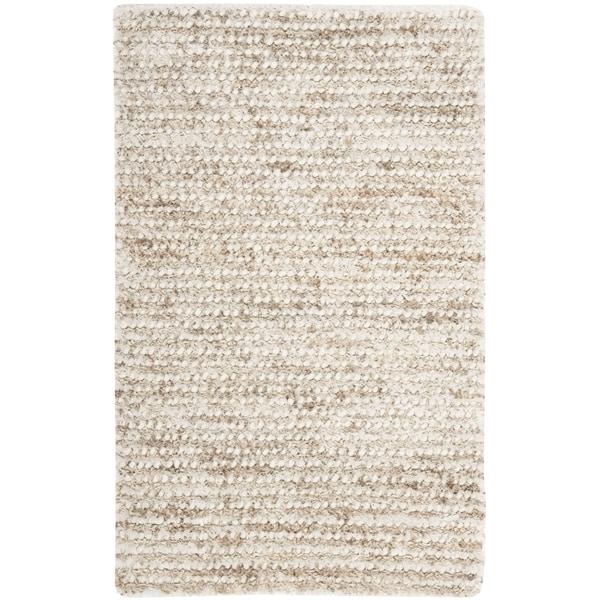 Safavieh Hand-woven Shag White/ Beige Rug (2'3 x 4')