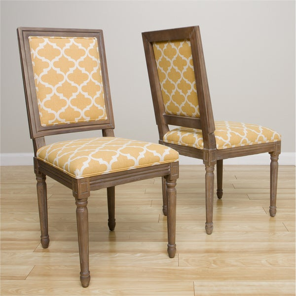 Dahlia Antique French Yellow Trellis Side Chairs (Set of 2)