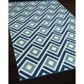 Blocks Blue Indoor/ Outdoor Rug (1'8 x 3'7)