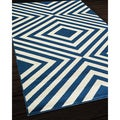Zig-Zag Navy Indoor/ Outdoor Rug (2'3 x 4'6)