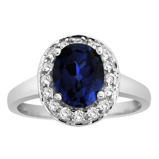 14k Gold Sapphire and 1/3ct TDW Diamond Bridal-style Ring (H-I, I2)