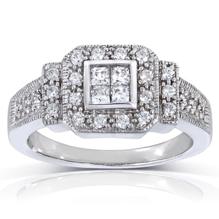 Annello 14k White Gold 1/2ct TDW Multi Stone Diamond Ring (H-I, I1-I2)