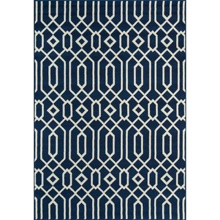 Indoor/ Outdoor Navy Links Rug (6'7 x 9'6)