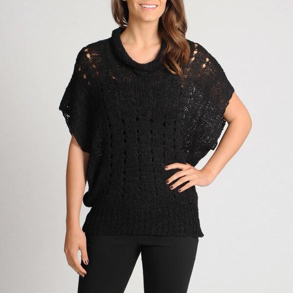 Vivienne Vivienne Tam Women's Cowl Neck Open Knit Sweater