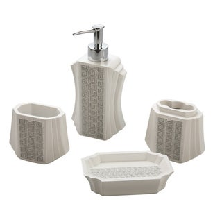Jovi Home Greek Key Bath Accessory 4-piece Set
