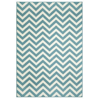 Indoor/Outdoor Blue Chevron Rug (8'6 x 13'0)
