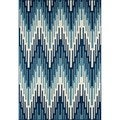Indoor/Outdoor Blue Ikat Rug (6'7 x 9'6)