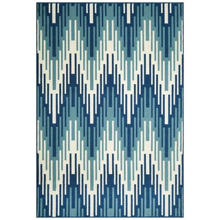 Indoor/Outdoor Blue Ikat Rug (8'6 x 13'0)