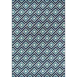 Indoor/ Outdoor Blue Blocks Rug (7'10 x 10'10)