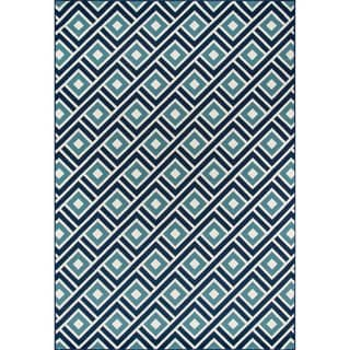 Indoor/ Outdoor Blue Blocks Rug (8'6 x 13'0)
