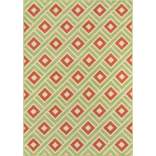 Indoor/ Outdoor Multi Blocks Rug (7'10 x 10'10)