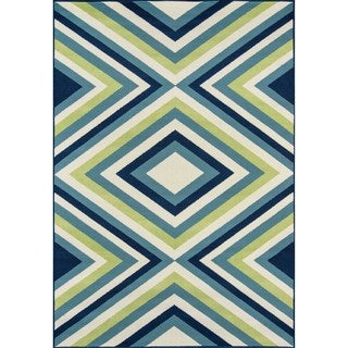 Indoor/ Outdoor Multi Zig-Zag Rug (1'8 x 3'7)
