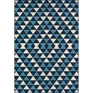 Indoor/ Outdoor Blue Kaleidoscope Rug (6'7 x 9'6)