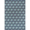Indoor/ Outdoor Blue Blocks Rug (6'7 x 9'6)