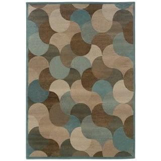 Abstract Beige/ Stone Blue Area Rug (6'7 x 9'6)