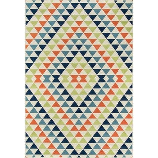 Indoor/ Outdoor Multi Kaleidoscope Rug (6'7 x 9'6)