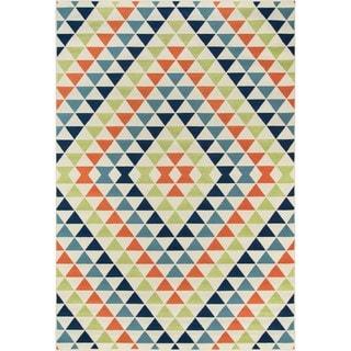 Indoor/ Outdoor Multi Kaleidoscope Rug (6'7 x 9'6)