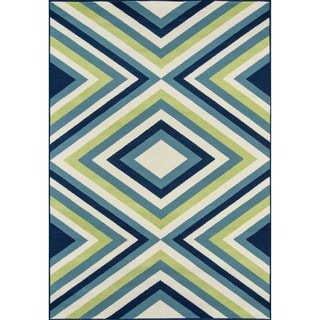 Indoor/ Outdoor Multi Zig-Zag Rug (5'3 x 7'6)