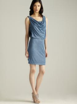Cowl Neck Draped Blouson Sparkle Dress