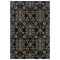Floral Navy/ Grey Area Rug (7'10 x 10'10)