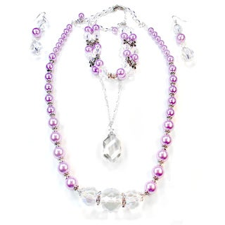 Silverplated Lavender Glass Pearl and Large Clear Crystal Jewelry Set