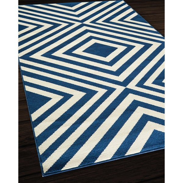Outdoor Rug 7 X 10: Indoor/ Outdoor Navy Zig-Zag Rug (7'10 X 10'10)