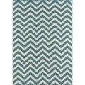 Indoor/ Outdoor Blue Chevron Rug (5'3 x 7'6)