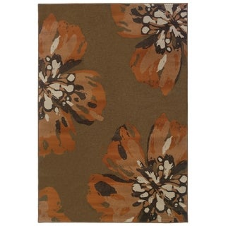 Floral Brown/ Orange Polypropylene Rug (6'7 x 9'6)