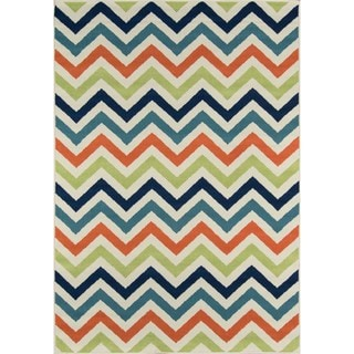 Indoor/ Outdoor Multi Chevron Rug (7'10 x 10'10)