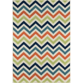Indoor/ Outdoor Multi Chevron Rug (2'3 x 4'6)