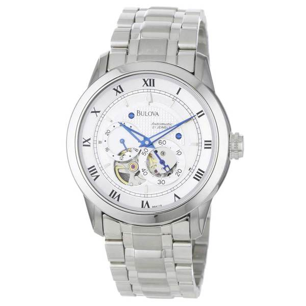 Bulova Men's BVA 96A118 Silver Stainless-Steel Automatic Watch with Silver Dial