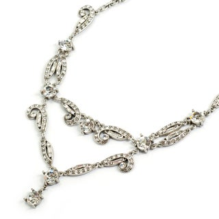 Sweet Romance Silvertone Daisy's 1920's Deco Necklace