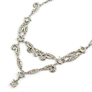 Sweet Romance Silvertone Daisy's 1920's Deco Necklace