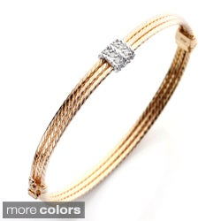 18k Gold over Silver 1/2ct TDW Diamond Rope Bangle Bracelet (I-J, I2-I3)