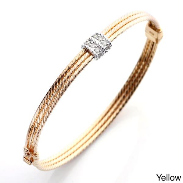 18k Gold over Silver 1/2ct TDW Diamond Rope Bangle Bracelet (I-J, I2-I3)